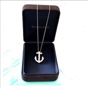Tiffany & Co platinum and diamond anchor necklace